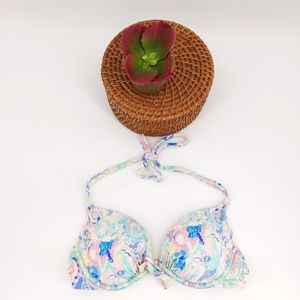 Vs floral print haulter padded push-up bikini top